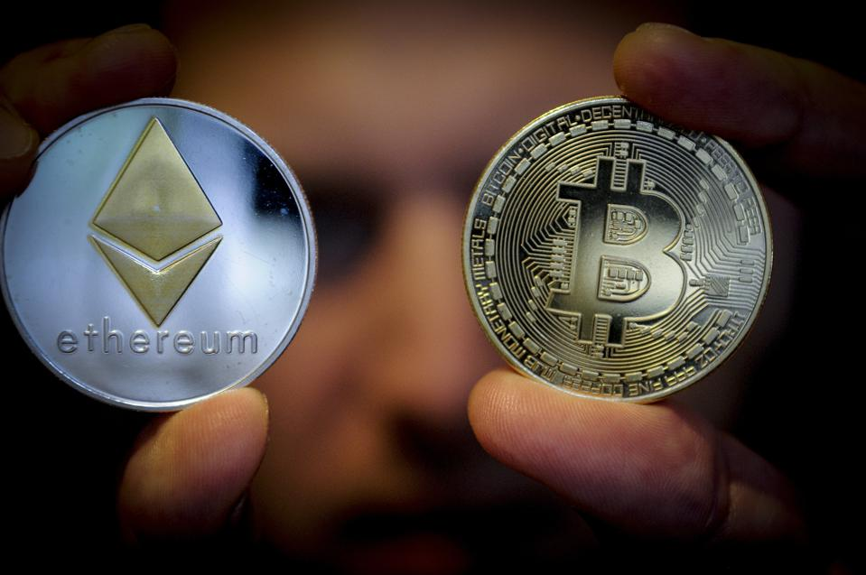 A picture of ether and bitcoin, which are cryptocurrencies.